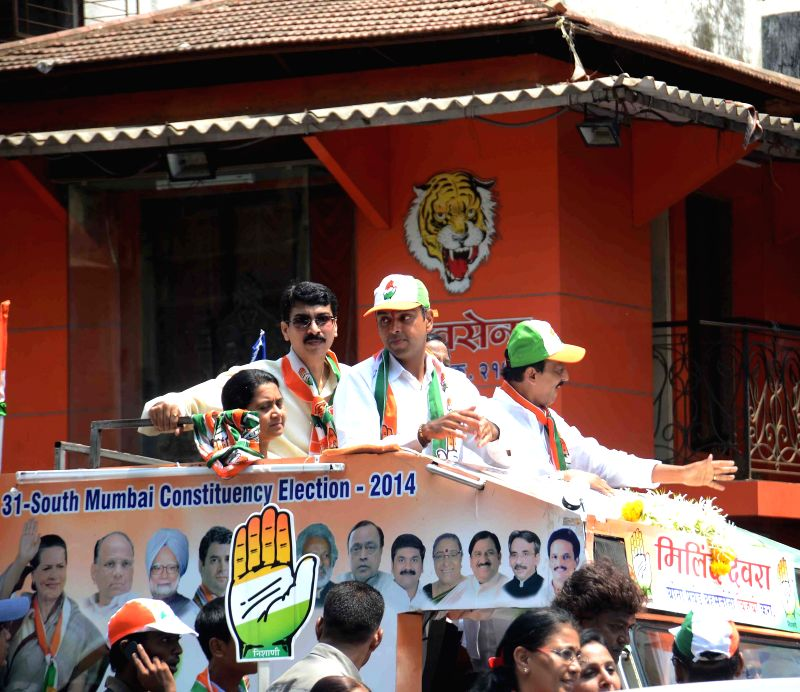 Congress candidate for 2014 Lok Sabha Election from South Mumbai, Milind Deora during an election campaign in Mumbai on April 18, 2014.