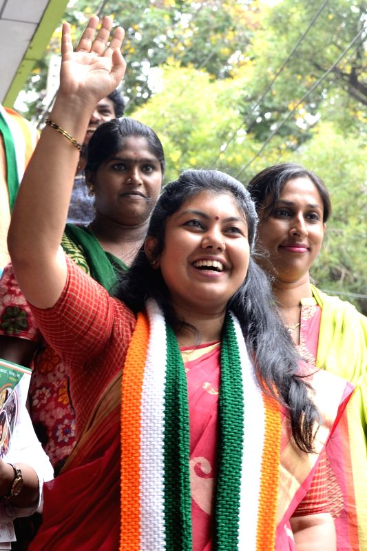 Congress candidate Sowmya Reddy who won from Bengaluru's Jayanagar Assembly constituency;  in Bengaluru on June 13, 2018. Polling was held on Monday after the May 12 Assembly election in ... - Sowmya Reddy and N. Vijaya Kumar