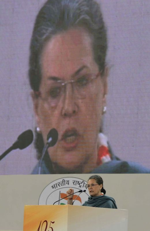 Congress chief Sonia Gandhi addresses during a programme organised to pay tribute to former Prime Minister Pandit Jawaharlal Nehru on his 126th birth anniversary in New Delhi on Nov 14, ... - Pandit Jawaharlal Nehru and Sonia Gandhi