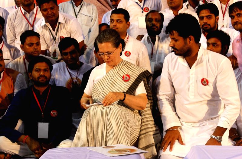 Congress chief Sonia Gandhi attends a programme organised by party workers on the occassion of former prime minister Rajiv Gandhi death anniversary in New Delhi on May 21, 2016. - Rajiv Gandhi and Sonia Gandhi
