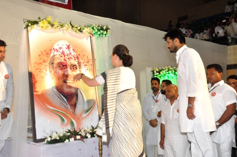 Congress chief Sonia Gandhi attends a programme organised by party workers on the occassion of former prime minister Rajiv Gandhi's death anniversary in New Delhi on May 21, 2016. - Rajiv Gandh and Sonia Gandhi