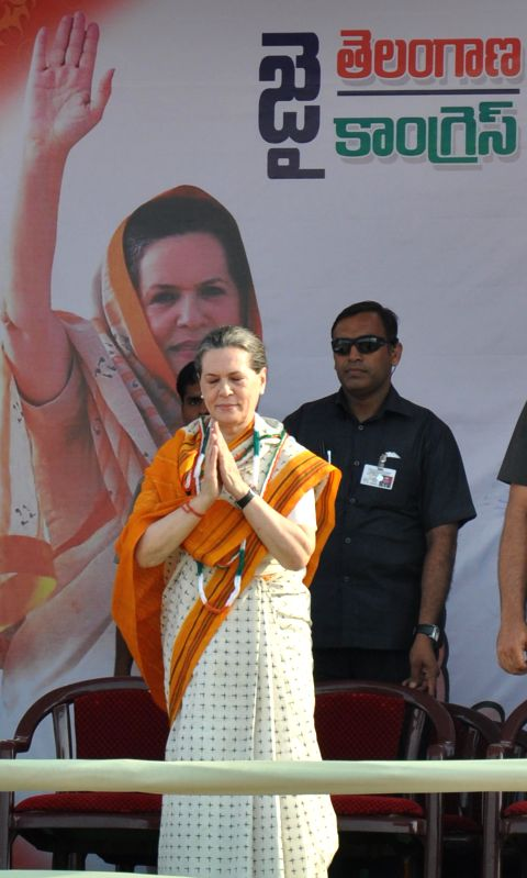 Congress chief Sonia Gandhi during a rally in Karimnagar district of Andhra Pradesh on April 16, 2014.