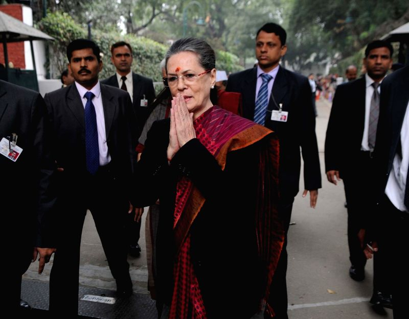 Congress chief Sonia Gandhi meets her supporters on her birthday at her residence in New Delhi, on Dec 9, 2015.