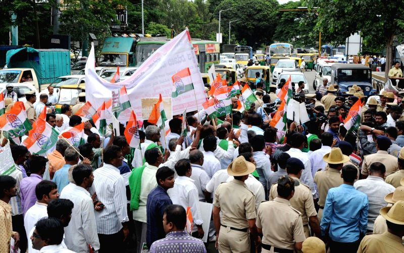 Congress farmers' wing stage a demonstration against killing of farmers of Madhya Pradesh's Mandsaur; in Bengaluru on June 8, 2017.