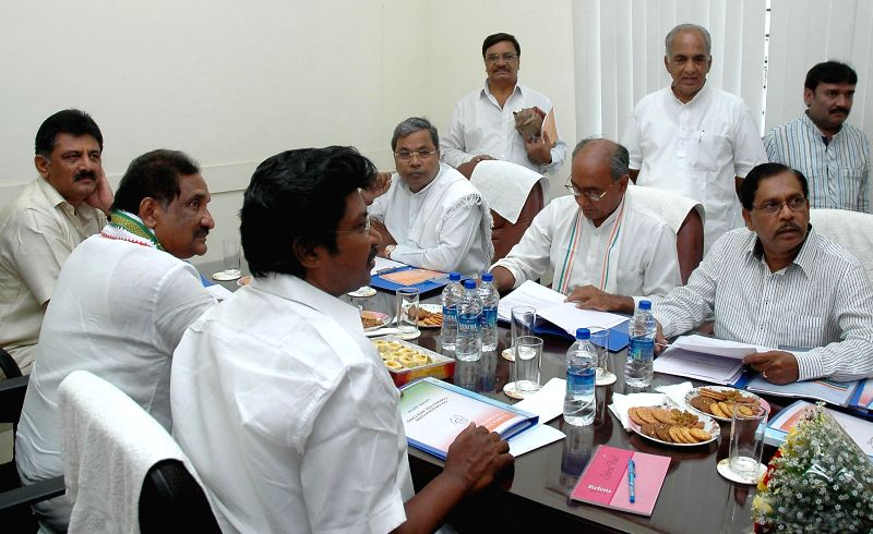 Congress General Secretary Digvijay Singh with Karnataka Chief Minister Siddaramaiah, Karnataka Congress chief G. Parameshwara, Karnataka Home Minister K J George and others during a party meeting in - Siddaramaiah
