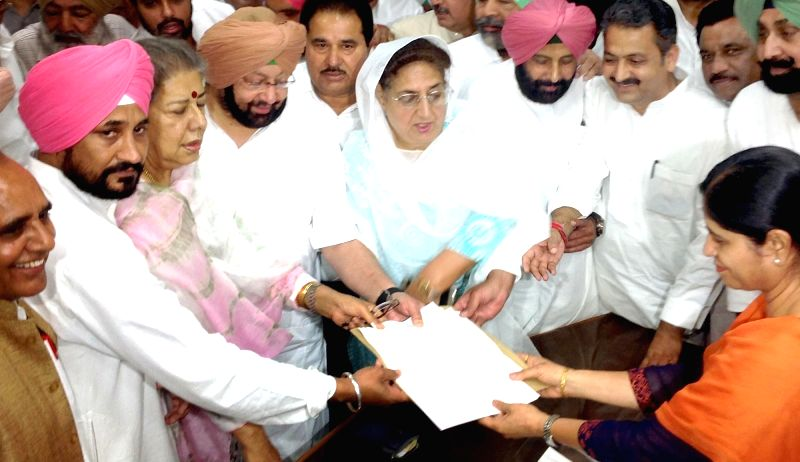 Congress leader Ambika Soni files nominations for elections to Rajya Sabha at Punjab Assembly in Chandigarh, on May 30, 2016. Also seen party leader Captain Amarinder Singh. - Amarinder Singh