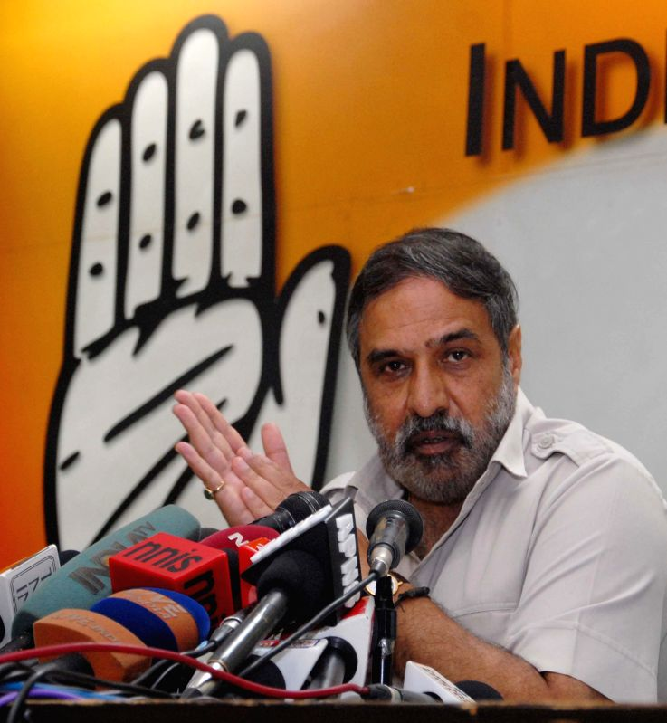 Congress leader Anand Sharma addresses a press conference at party office in New Delhi on Sept 2, 2014. - Anand Sharma
