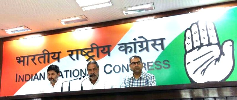 Congress leader Anand Sharma addresses a press conference regarding Modi's three years of Governance in New Delhi on May 25, 2017. - Anand Sharma