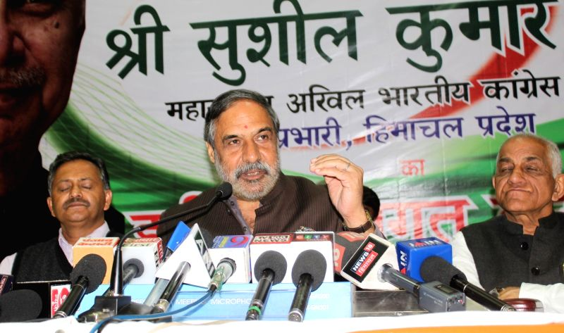 Congress leader Anand Sharma addresses a press conference in Shimla on Oct 12, 2017. - Anand Sharma