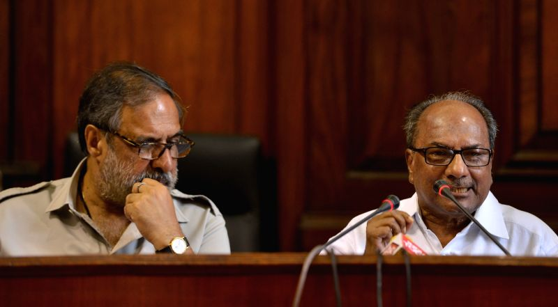 Congress leader and Former Defence Minister A.K. Antony with party colleagues Anand Sharma addresses during a press conference at Parliament House, in New Delhi, on  July 23, 2018. The ... - A., Narendra Modi and Anand Sharma
