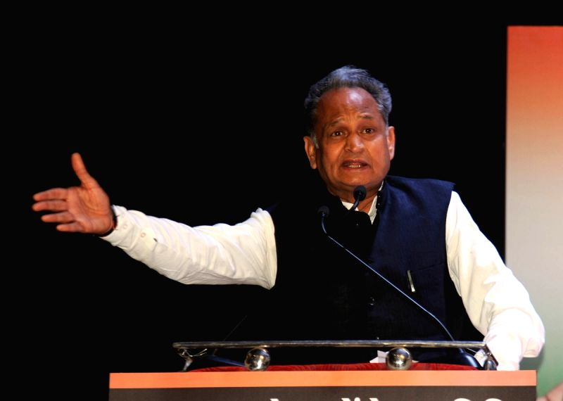 Congress leader Ashok Gehlot addresses during a party meeting in Ahmedabad on May 10, 2017.