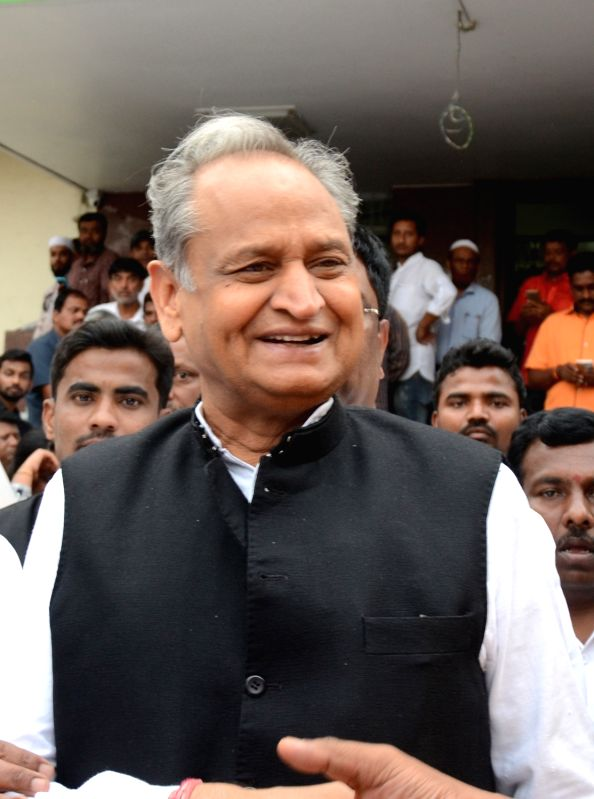 Congress leader Ashok Gehlot arrives at party office in Bengaluru on May 16, 2018.