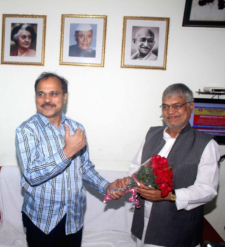 Congress leader CP Joshi with West Bengal Pradesh Congress president Adhir Ranjan Chowdhury during a meeting of State Congress leaders in Kolkata on Dec 5, 2015.