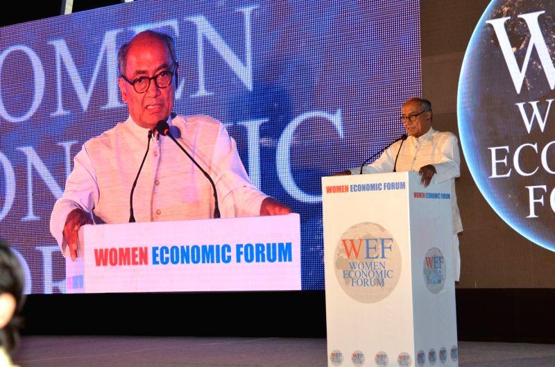 Congress leader Digvijay Singh addresses at Women Economic Forum 2017 in New Delhi on May 12, 2017. - Digvijay Singh