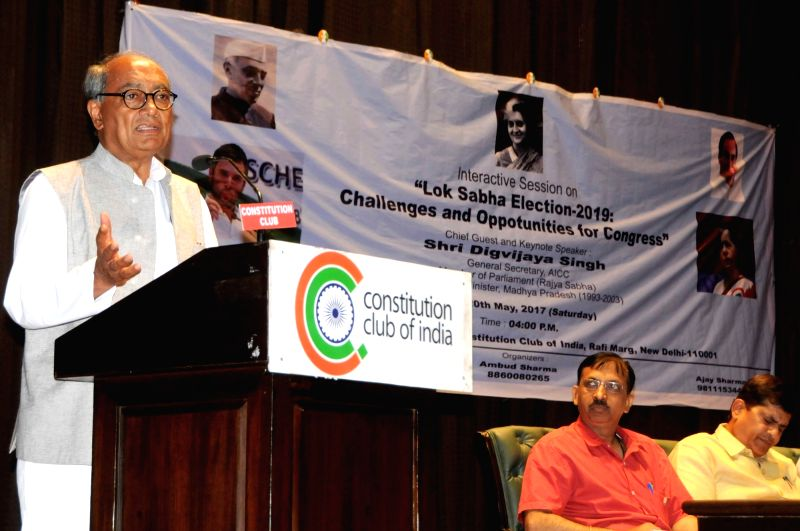 "Congress leader Digvijay Singh addresses during an interactive session on ""Lok Sabha Election 2019: Challenges and Opportunities for Congress'' in New Delhi on May 20, 2017. - Digvijay Singh"