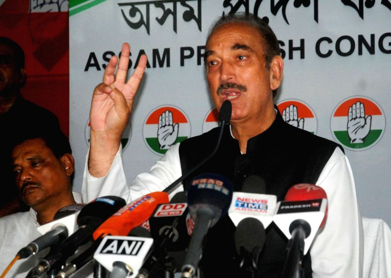 Congress leader Ghulam Nabi Azad addresses a press conference in Guwahati on April 5, 2016.