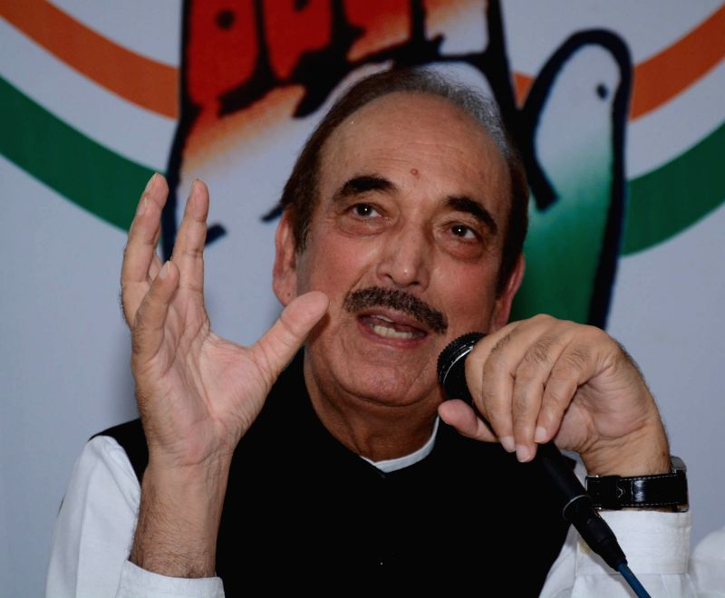 Congress leader Ghulam Nabi Azad addresses a press conference in Lucknow, on June 2, 2017.
