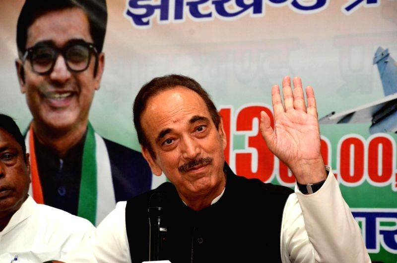 Congress leader Ghulam Nabi Azad addresses a press conference, in Ranchi, on  Sept 14, 2018.