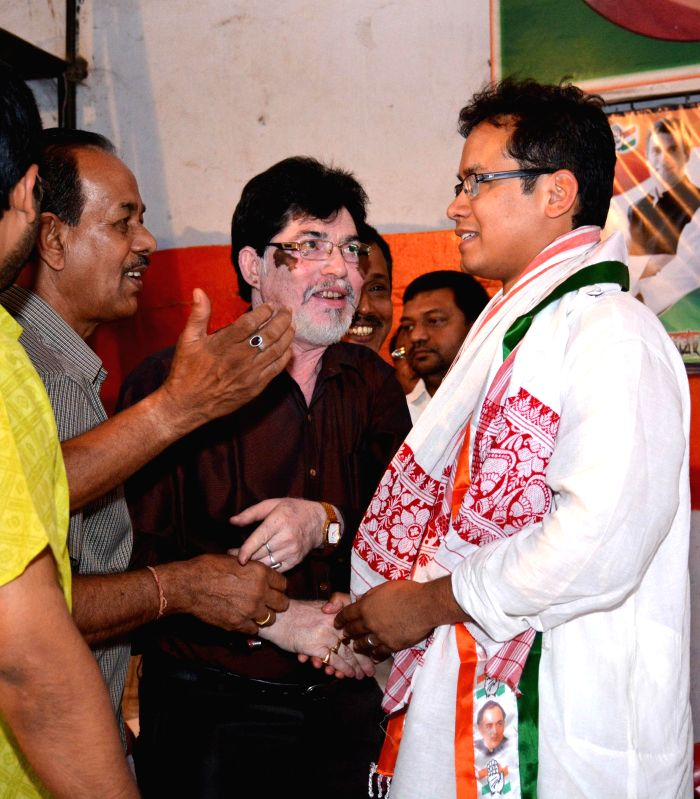Congress leader Gourav Gogoi being congratulated by well wishers after he won Kaliabor parliamentary seat of Assam, in Guwahati on May 17, 2014.