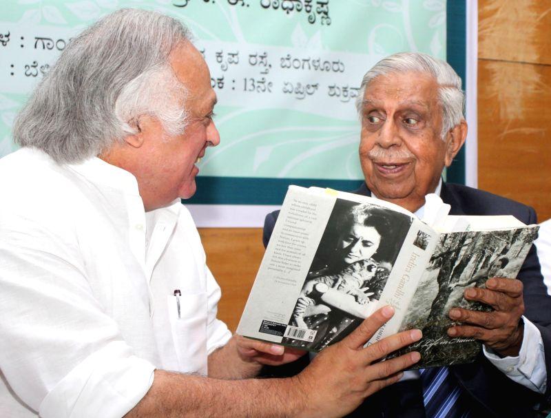 "Congress leader Jairam Ramesh and Former Chief Justice of India, Justice M. N. Venkatachaliah release Kannada version his book ""Indira Gandhi: a Life in Nature"" in Bengaluru, on ... - Indira Gandhi"