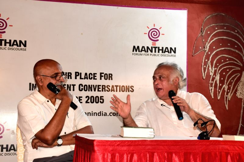 "Congress leader Jairam Ramesh speak on book ""Intertwined lives: P.N. Haksar and Indira Gandhi"" at Vidyaranya School in Hyderabad on July 28, 2018. - Indira Gandhi"