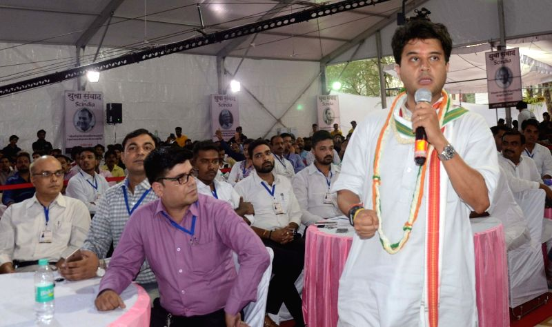 Congress leader Jyotiraditya Scindia addresses during a programme in Bhopal on June 11, 2018.
