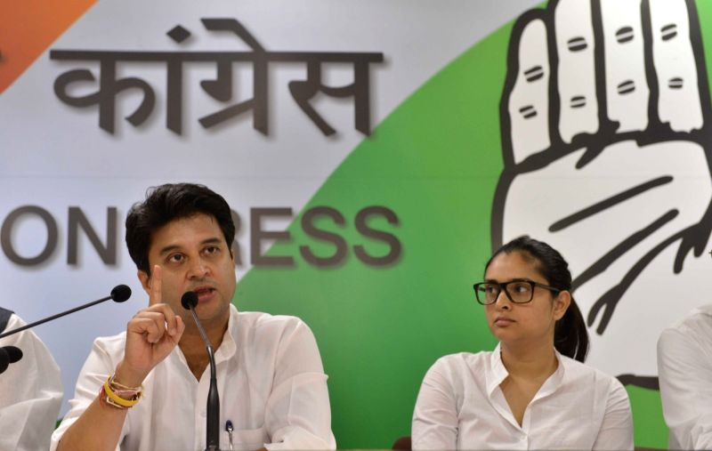 Congress leader Jyotiraditya Scindia addresses a press conference in New Delhi on May 16, 2017.