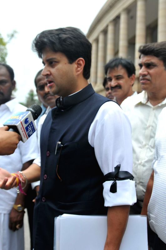 Congress leader Jyotiraditya Scindia at the Parliament in New Delhi, on July 22, 2015.