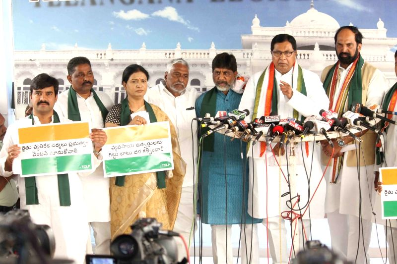 Congress leader K Jana Reddy addresses a press conference in Hyderabad on April 30, 2017. - K Jana Reddy