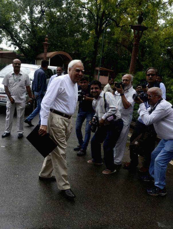 Congress leader Kapil Sibal at Parliament in New Delhi, on July 18, 2016.