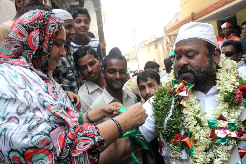 Congress  leader M. Mukesh Goud during an election campaign in Hyderabad on April 24, 2014.
