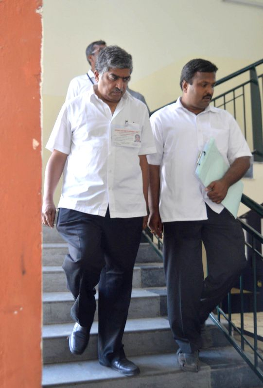 Congress leader Nandan Nilekani at SSMRV College counting centre ahead of declaration of results in Bangalore on May 16, 2014.