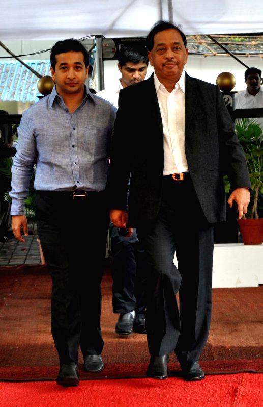 Congress leader Narayan Rane arrives during the monsoon session at Maharashtra Assembly in Mumbai on July 18, 2016.