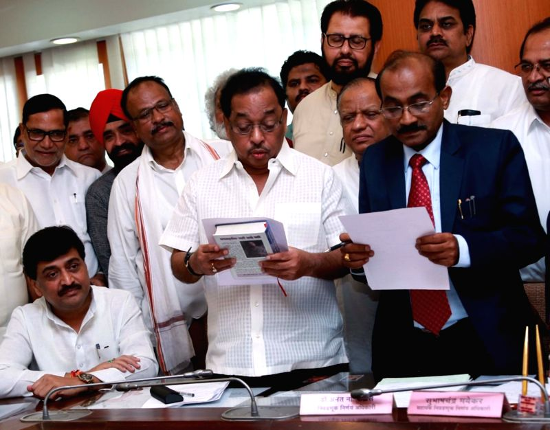 Congress leader Narayan Rane files nomination for elections to Rajya Sabha at Maharashtra Assembly in Mumbai, on May 31, 2016.