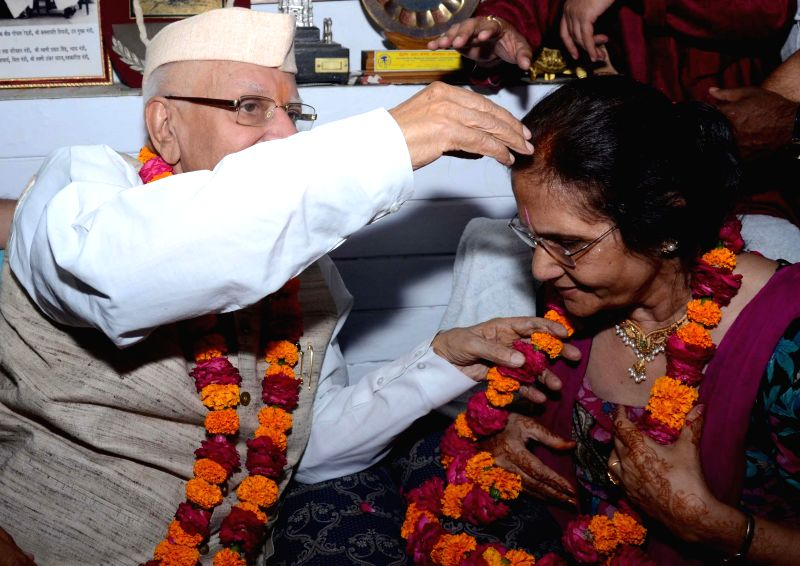 Congress leader ND Tiwari marries Ujjwala Sharma, mother of Rohit Shekhar whom he recently accepted as his own after a lengthy lawsuit in Lucknow on May 15, 2014.