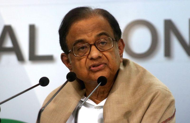 Congress leader P. Chidambaram addresses a press conference in New Delhi on Feb 1, 2018.