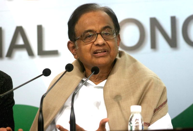 Congress leader P. Chidambaram addresses a press conference in New Delhi on Feb 1, 2018.