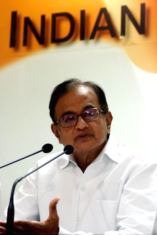 Congress leader P Chidambaram addresses during a press conference in New Delhi on May 28, 2016.