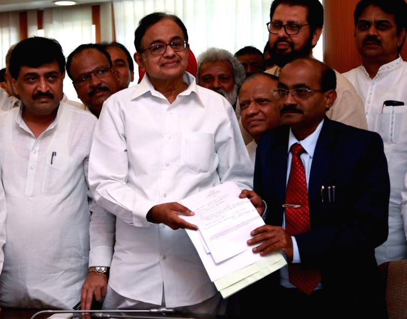 Congress leader P Chidambaram files nomination for elections to Rajya Sabha at Maharashtra Assembly in Mumbai, on May 31, 2016.