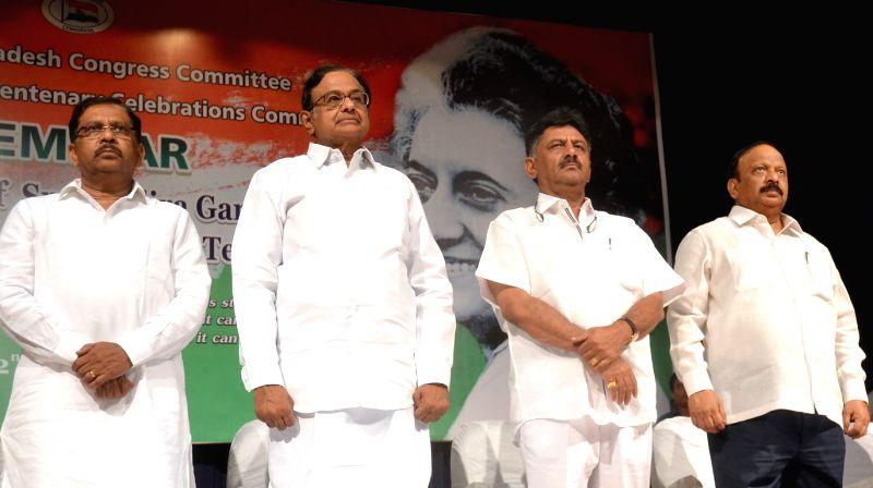 "Congress leader P Chidambaram with Karnataka Home Ministers Dr. G Parameshwar, Ministers DK Shivakumar and Roshan Baig during a Seminar on ""The Era of Indira Gandhi Take Off Years of ... - D"