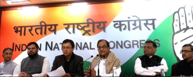 Congress leader P. Chidambaram with party spokesperson Randeep Singh Surjewalla and other party leaders addresses a press conference in New Delhi on Feb 1, 2018. - Randeep Singh Surjewalla