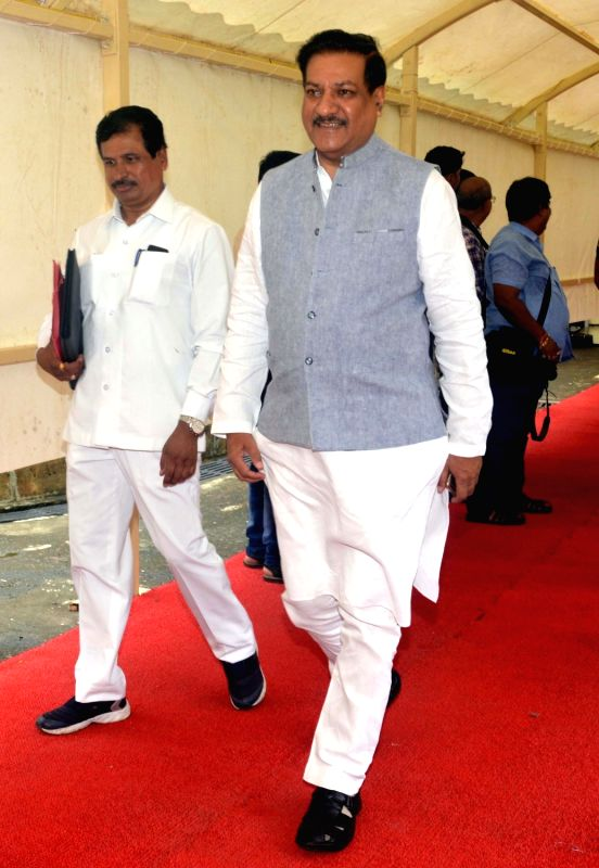 Congress leader Prithviraj Chavan arrives during the monsoon session at Maharashtra Assembly in Mumbai on July 18, 2016.
