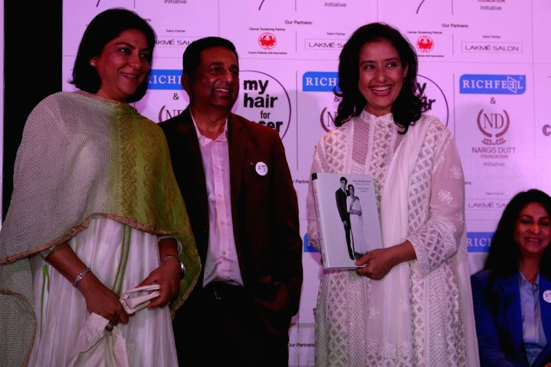 Congress leader Priya Dutt, Dr. Apoorva Shah, Founder of Richfeel and actress Manisha Koirala during the social cause campaign 'My Hair for Cancer' organised by Hair care brand Richfeel and ... - Manisha Koirala, Priya Dutt, Apoorva Shah and Nargis Dutt Foundation