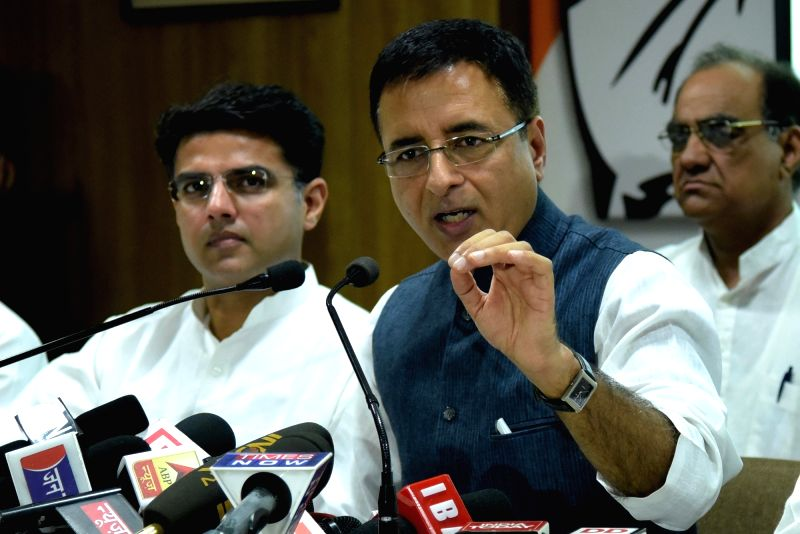 Congress leader Randeep Singh Surjewala addresses a press conference in Jaipur, on May 22, 2017. Also seen Rajasthan Congress chief Sachin Pilot. - Randeep Singh Surjewala