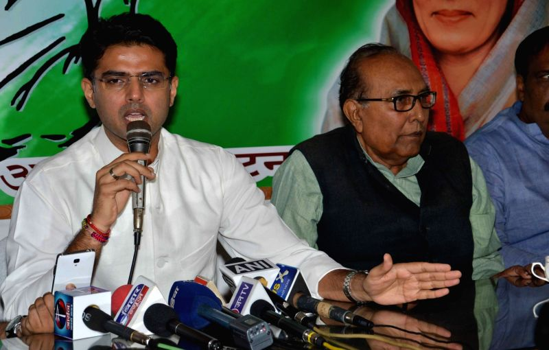 Congress leader Sachin Pilot addresses a press conference in Patna on Oct 30, 2015.
