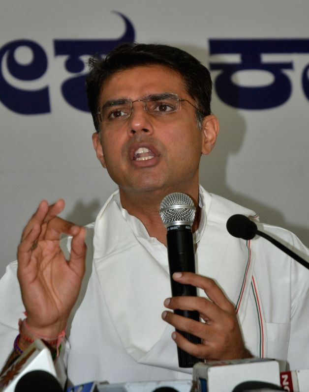 Congress leader Sachin Pilot addresses a press conference in Bengaluru, on May 28, 2016.