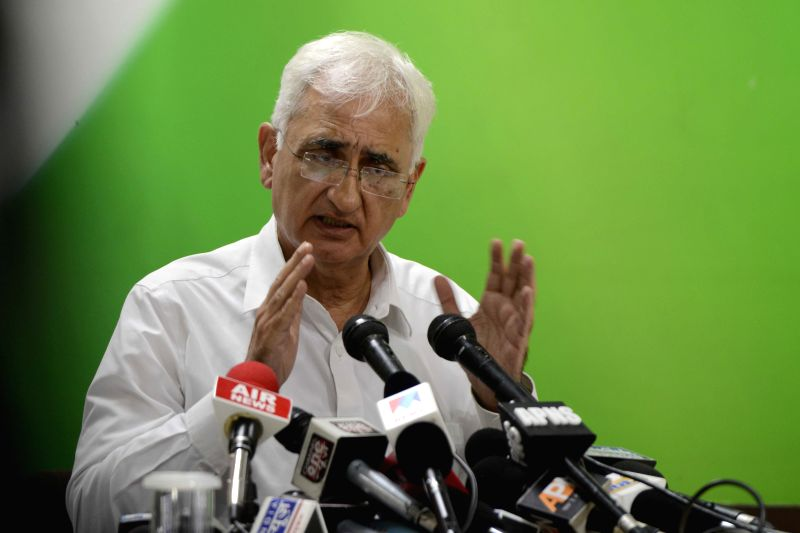 Congress leader Salman Khurshid addresses a press conference in New Delhi, on July 17, 2015.