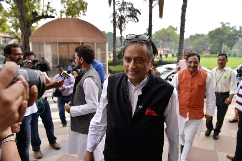 Congress leader Shashi Tharoor arrives at Parliament to cast hsr vote in presidential polls on July 17, 2017. - Shashi Tharoor
