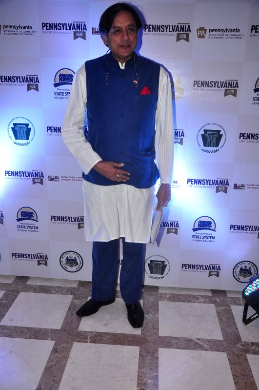 Congress leader Shashi Tharoor during the launch of Penn Hub - India, the first global education initiative partnership with Symbiosis and State of Pennsylvania, USA in Mumbai, on Dec 5, 2014. - Shashi Tharoor