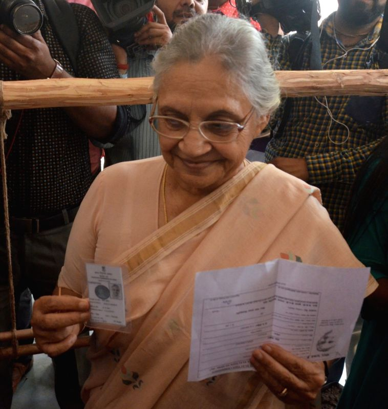 Congress leader Sheila Dikshit comes out after casting her vote during MCD polls in New Delhi on April 23, 2017. (Photo: IANS - Sheila Dikshit